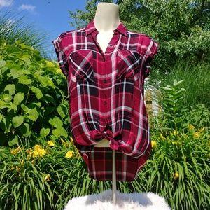 SUPERSOFT Plaid, Cap-Sleeved, Button-Up Shirt